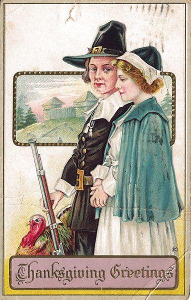 Thanksgiving Postcard Pilgrims