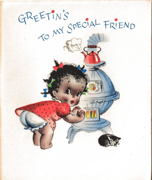 Unused Black Americana Christmas Card / Old Store Stock / Black Americana Collectible