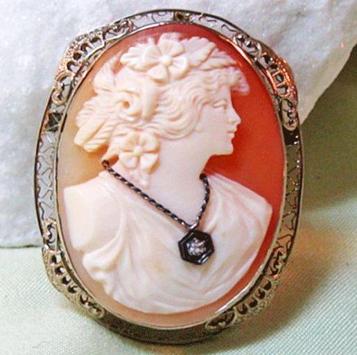 White Gold 14K Filigree Shell Cameo Diamond Habille Brooch Pendant Fine Jewelry