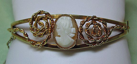 Gold Filled Bracelet with Genuine Shell Cameo