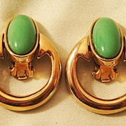 Bergere Door Knocker Earrings with Jade Colored Stones