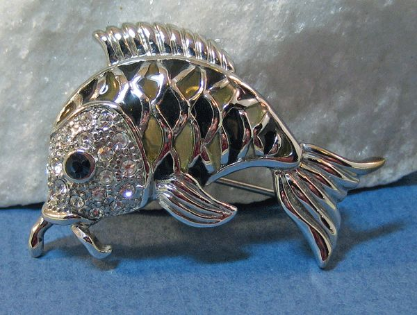 Silver-tone Fish Pin with Plique de Jour Enamel