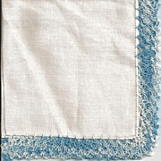 Linen Hankie Handkerchief with Variegated Blue Hairpin Lace Edge