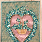 Valentine Postcard with Silk Heart, Basket, and German Flowers