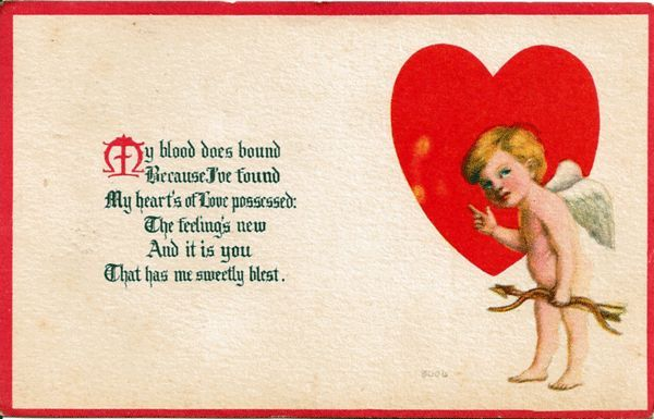 Valentine postcard with cupid and heart by bergman from for Valentines jewelry dallas pa