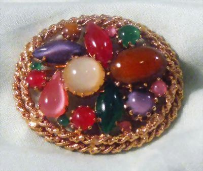 Austria Pin with Cabochons of Many Shapes and Colors