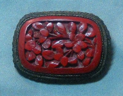 Chinese Export Deeply Carved Cinnabar Pin