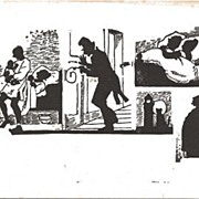 Silhouette Postcard Showing Various Scenes