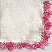Linen Hankie Handkerchief with Pink Tatted Edge