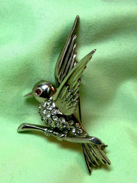 Bird on Branch Pin Silver-tone with Rhinestones