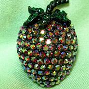 Weiss Red Aurora Borealis Strawberry Fruit Pin