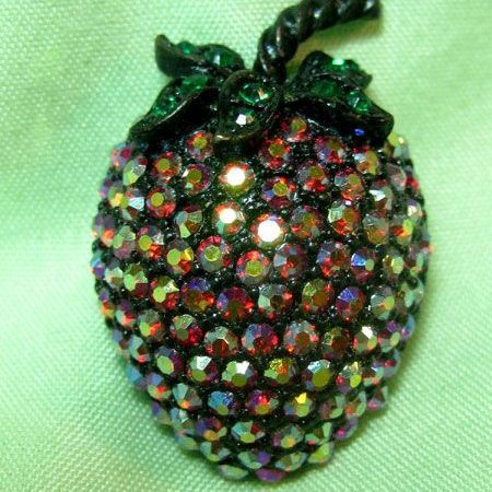 Weiss Red Aurora Borealis Strawberry Fruit Pin