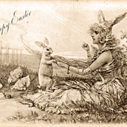 Tuck Easter Postcard with Fanciful Lady Rabbit - Early Undivided Back