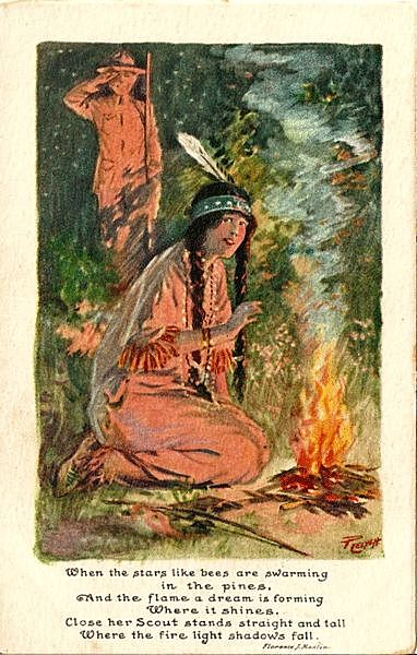 Indian Princess by Campfire - Painting by Charles Relyea and Poem by Florence J. Mastin