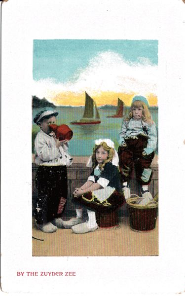 Postcard of Dutch Children by the Zuyder Zee