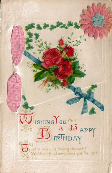 vintage happy birthday postcard with pink ribbon and felt flower from antique ables on ruby lane. Black Bedroom Furniture Sets. Home Design Ideas