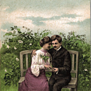 Postcard of Victorian Era Couple Courting on a Bench Next to a Pond
