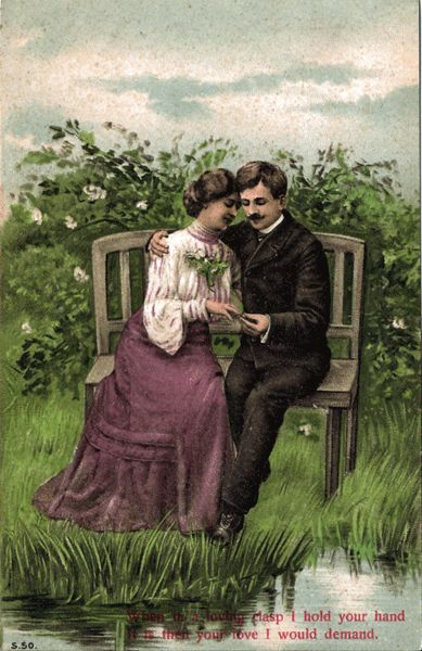 Postcard Of Victorian Era Couple Courting On A Bench Next
