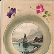 Heavily Embossed Postcard with Lovely Flowers and Cameo of Sailboat Scene