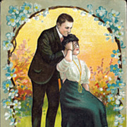 Postcard with Undivided Back of Victorian Couple Courting