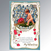 Nash Valentine's Day Postcard Cherub with Wheelbarrow Full of Hearts