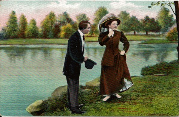 Postcard of Courting Couple at the Edge of  a Pond
