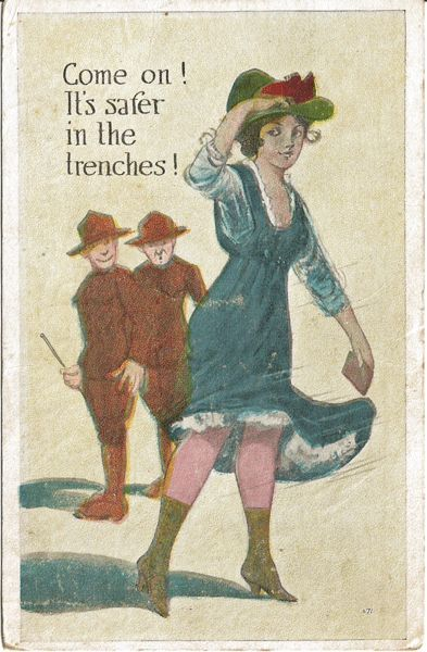Humorous Postcard of Two Soldiers Giving a Young Lady the Eye