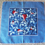Faith Austin Designer Hankie with Pear and Leaf Design