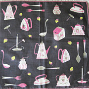 Faith Austin Designer Hankie with Print of Vintage Kitchen Items