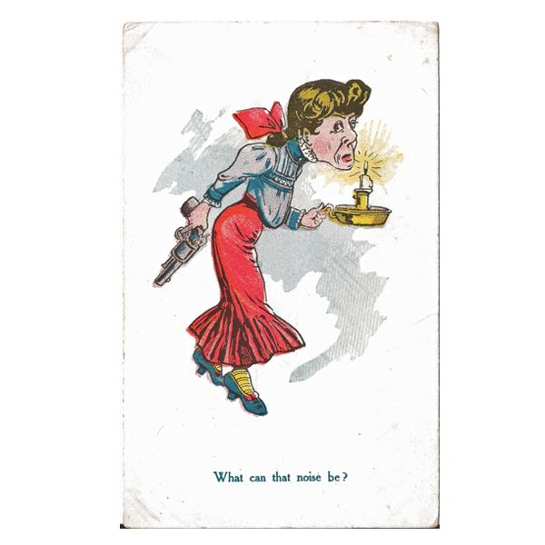 Vintage Postcard of Pistol Packing Momma