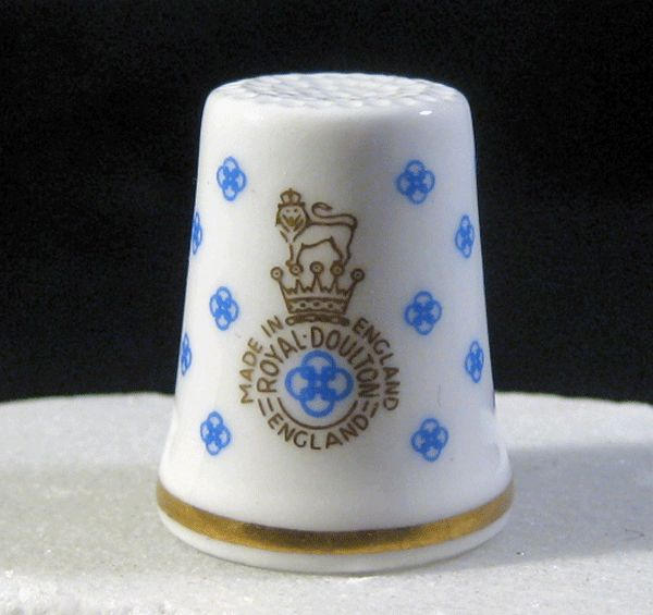 Royal Doulton Thimble - Blue, White & Gold with Logo
