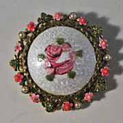 Art Guilloche and Enamel Round Pin with Hand Painted Rose and Simulated Pearl & Rhinestone Decorated Edge