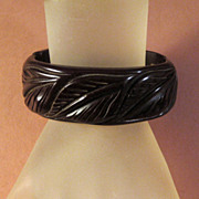 Dark Chocolate Bakelite Clamper Bracelet with Very Nice Carving