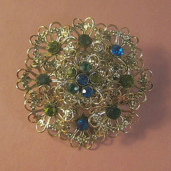 Filigree Flower Pin with Blue, Emerald Green and  Olivine Rhinestones