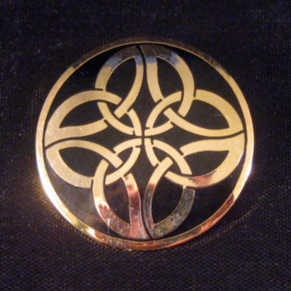 Celtic Sea Gems Gold-tone and Black Enamel Pin