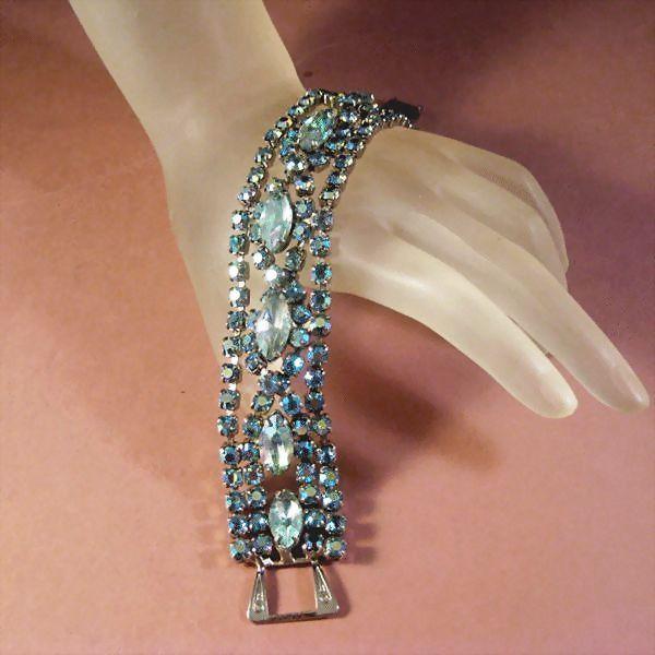 Rhinestone Bracelet with Blue Aurora Borealis Stones****