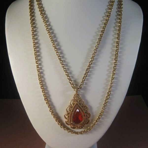 Lovely Double Chain Necklace wit h Drop and Large Teardrop Orange Rhinestone