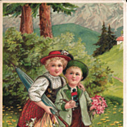 Heavily Embossed Postcard of Adorable Children Crossing a Bridge - Set in Switzerland or Germany