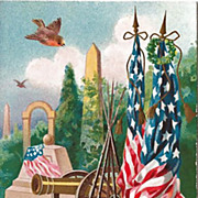 Patriotic Postcard by M.W. Taggart with Flags, Cannons and Memorials
