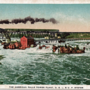 Postcard of the American Falls Power Plant, O.S.L & U.P. System