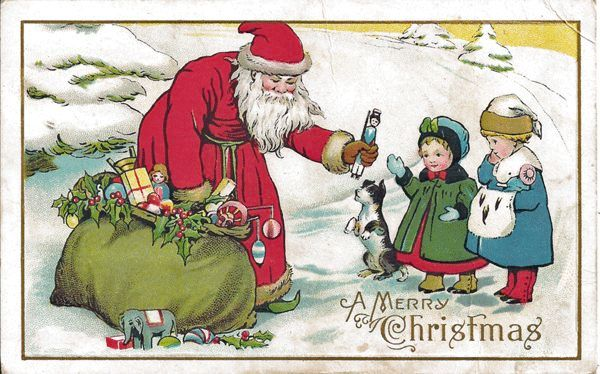 Santa Postcard Giving Toys To Little Girls From Antique