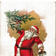 Santa Decorating the Christmas Tree Postcard