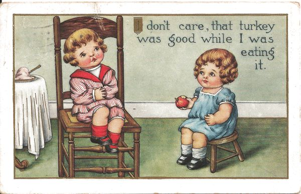 Two Campbell Soup Type Children Postcard - After Thanksgiving Dinner
