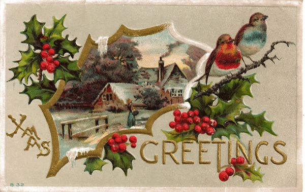 Christmas Greetings Postcard with Lovey Country Scene Cameo and ...