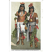 Fred Harvey Postcard Indian Men in Ceremonial Dance Costume, New Mexico