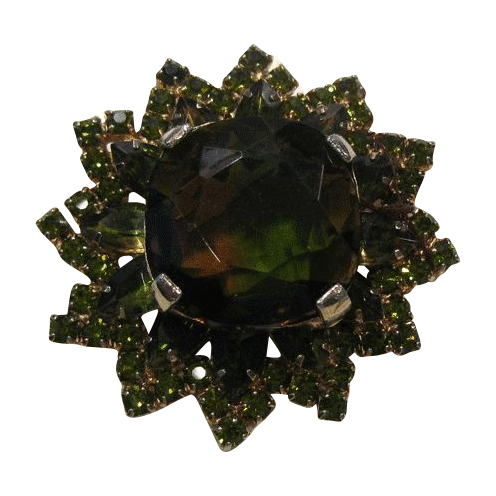 Juliana D&E Pin Large Heliotrope Stone Olivine Accents