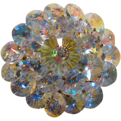 Aurora Borealis Crystal Pin Margarita Center and Rivoli Crystals