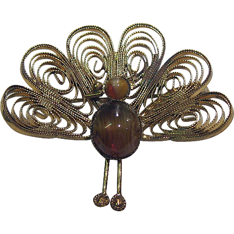 Peacock Pin Tiger Eye Body and Head Wirework Feathers