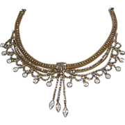 Runway Rhinestone Necklace / Wire Mesh / Crystals / Huge Wow Factor / Vintage Fashion Jewelry