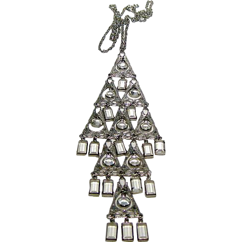 Cascading Crystal Silver-Tone Necklace / Vintage Fashion Jewelry / Runway